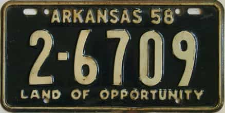 1958 Arkansas license plate for sale