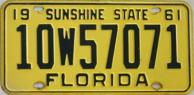 1961 FL license plate for sale