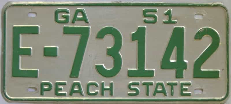 YOM 1951 GA license plate for sale
