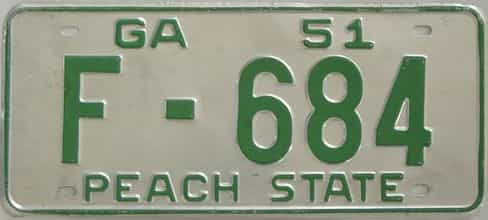 YOM 1951 Georgia license plate for sale