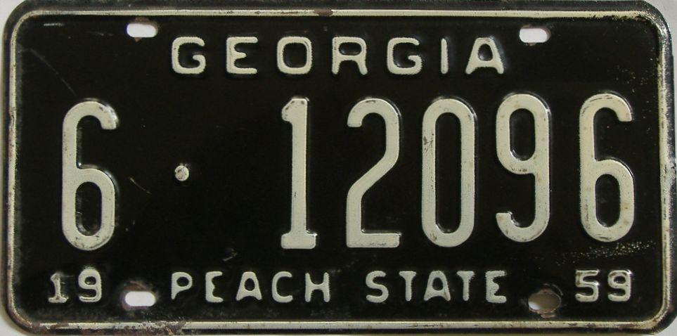 YOM 1959 Georgia license plate for sale