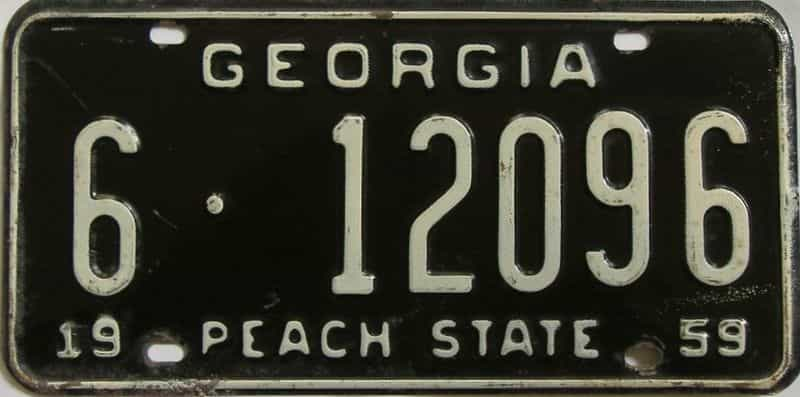 YOM 1959 GA license plate for sale