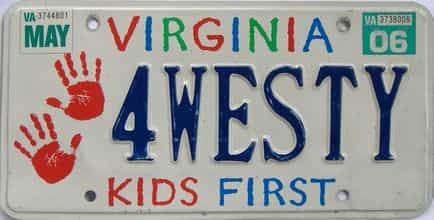 2006 Virginia (Natural Single) license plate for sale