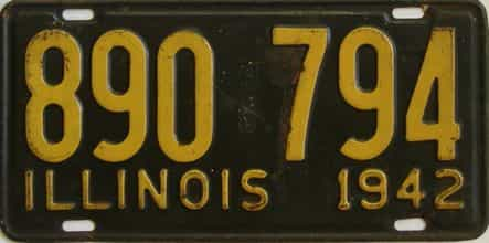 1942 Illinois (Single) license plate for sale