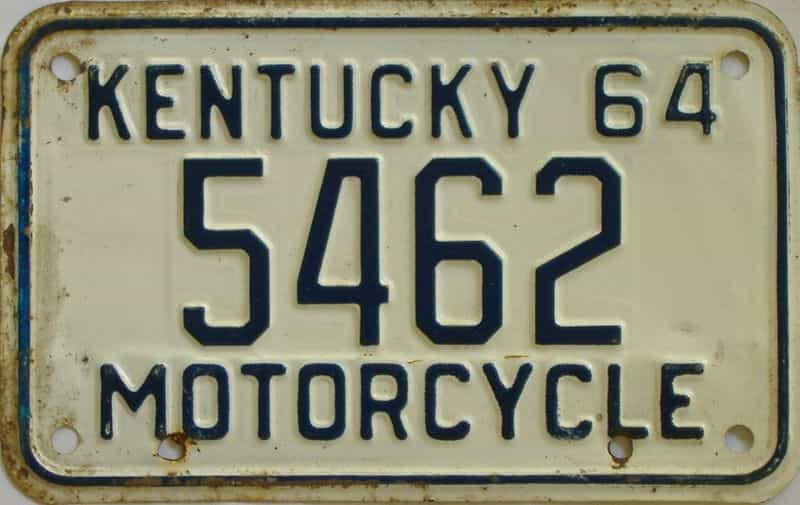 1964 KY (Motorcycle) license plate for sale