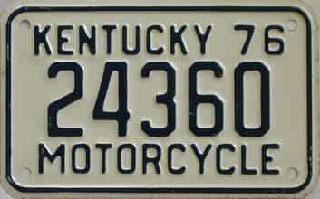 1976 Kentucky (Motorcycle) license plate for sale