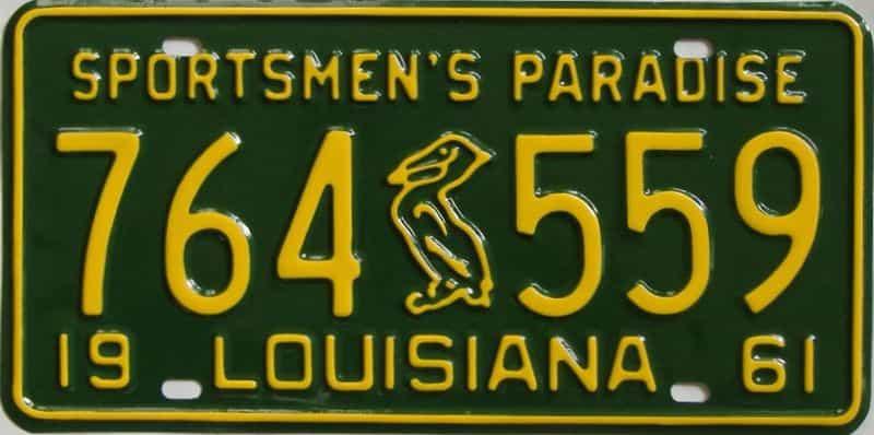RESTORED 1961 Louisiana license plate for sale
