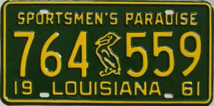 RESTORED 1961 Louisiana license plate for sale