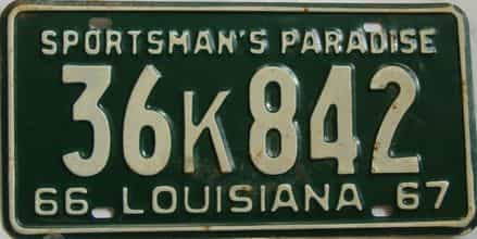 1966 Louisiana license plate for sale