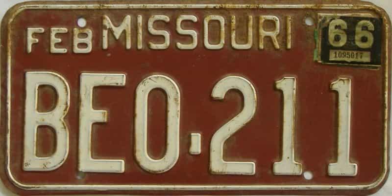 1966 Missouri license plate for sale