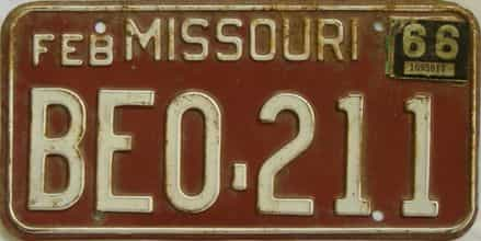 1966 Missouri license plate for sale