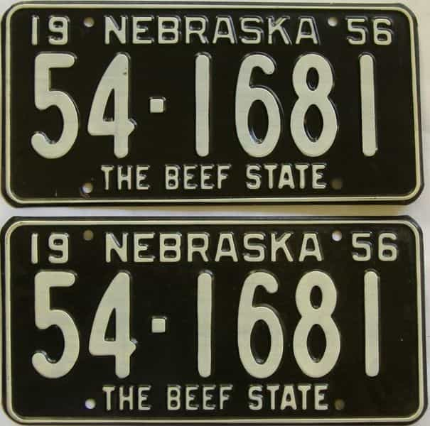 1956 NE (Pair) license plate for sale