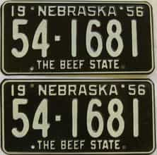 1956 Nebraska (Pair) license plate for sale