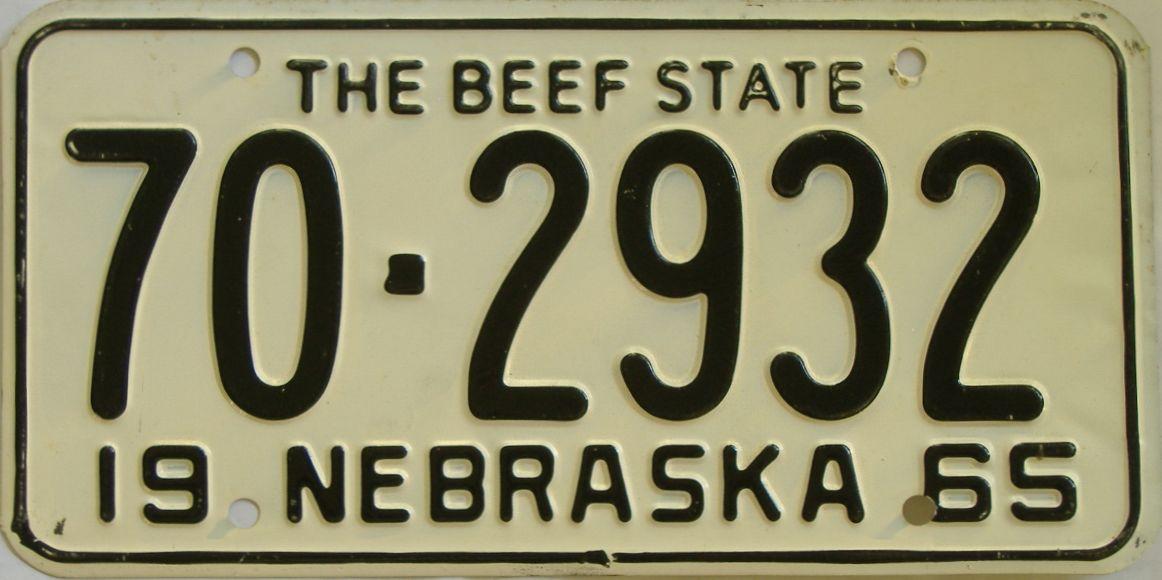 1965 Nebraska (Single) license plate for sale