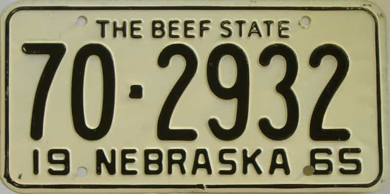 1965 NE (Single) license plate for sale