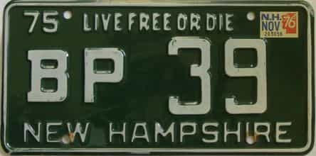 1976 New Hampshire (Single) license plate for sale
