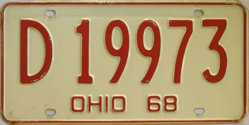 1968 OH (Single) license plate for sale
