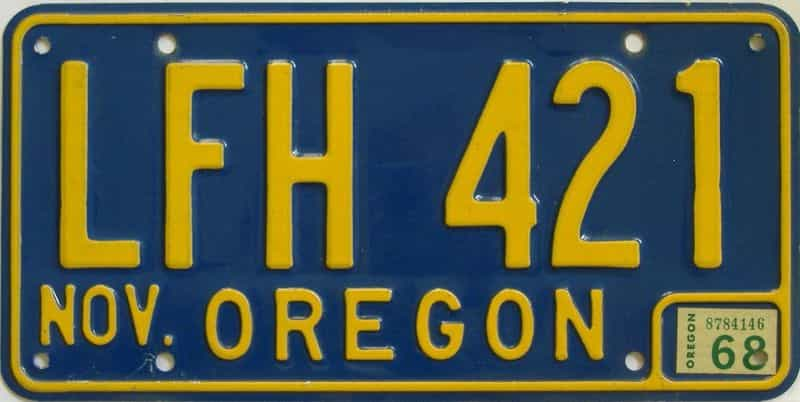 1968 Oregon (Natural Single) license plate for sale