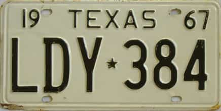 1967 Texas (Single) license plate for sale