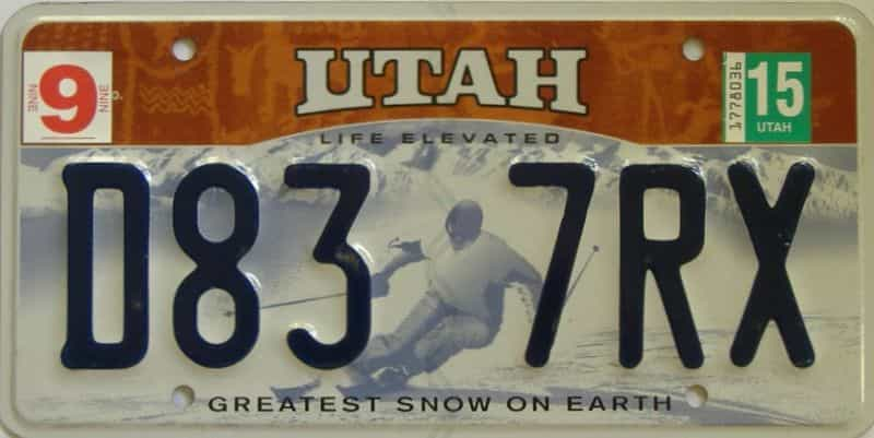 2015 Utah (Single) license plate for sale