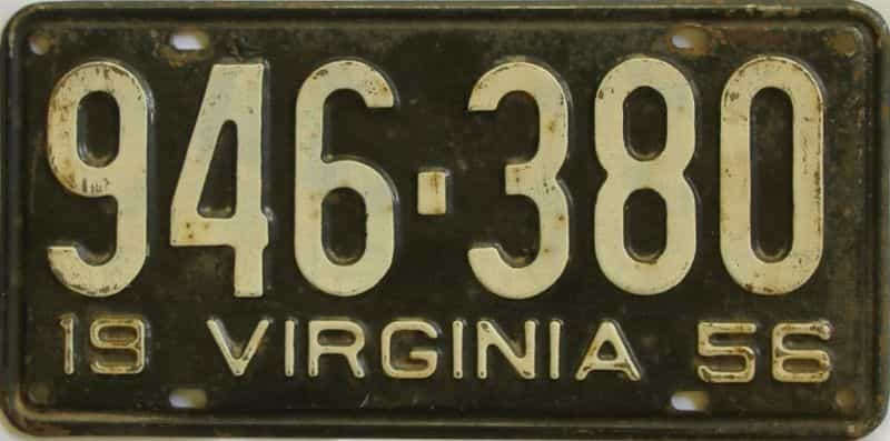 1956 Virginia  (Single) license plate for sale