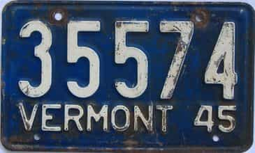 1945 Vermont license plate for sale
