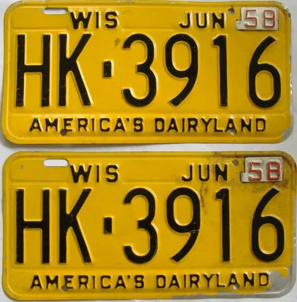 1958 WI (Pair) license plate for sale