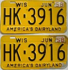 1958 Wisconsin (Pair) license plate for sale