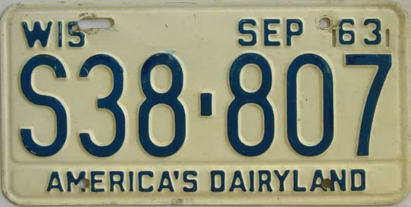 1963 Wisconsin (Single) license plate for sale