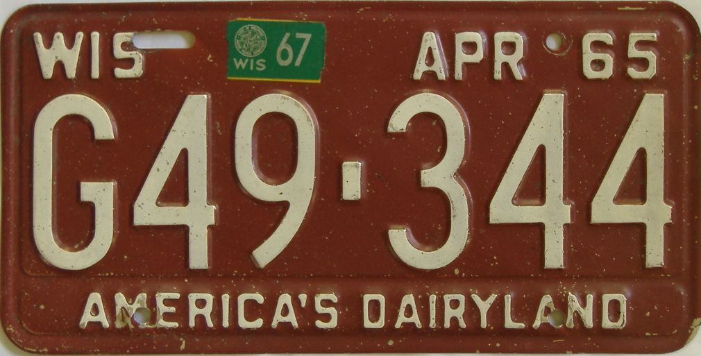 1967 Wisconsin (Single) license plate for sale