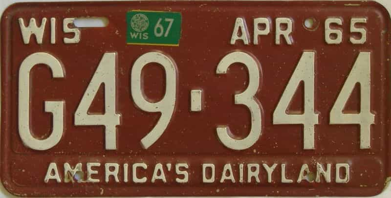 1967 WI (Single) license plate for sale