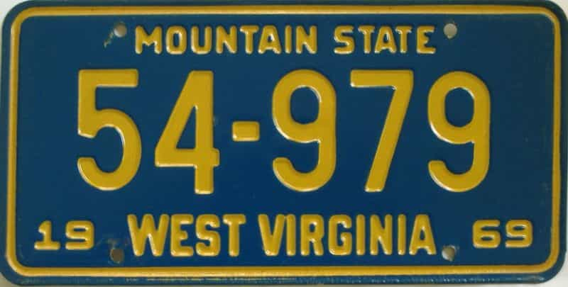 1969 WV license plate for sale