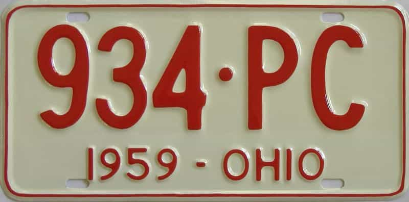 1959 OH (Very Nice Older Repaint) license plate for sale