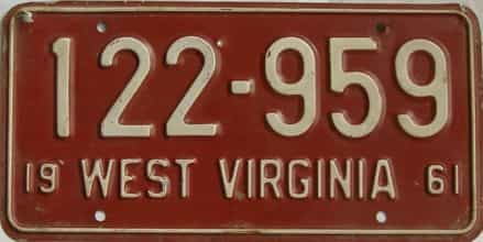 1961 West Virginia license plate for sale