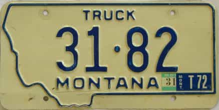 1972 Montana (Truck) license plate for sale