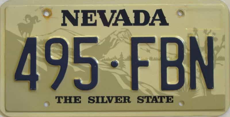 NV (Single) license plate for sale