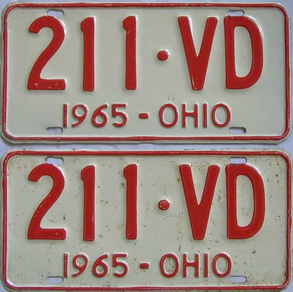1965 OH (Pair) license plate for sale