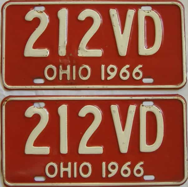 1966 OH (Pair) license plate for sale
