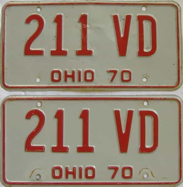 1970 OH (Pair) license plate for sale