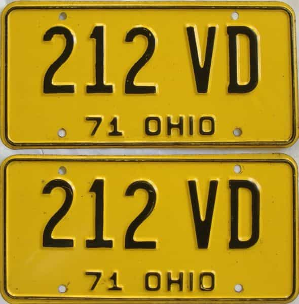 1971 OH (Pair) license plate for sale