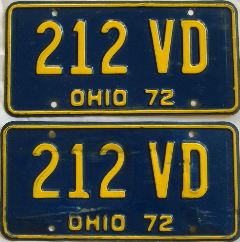 1972 Ohio (Single) license plate for sale