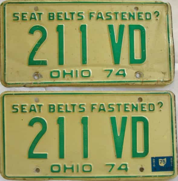 1975 OH (Pair) license plate for sale