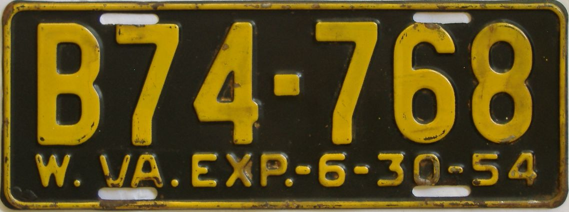 1954 West Virginia (Truck) license plate for sale
