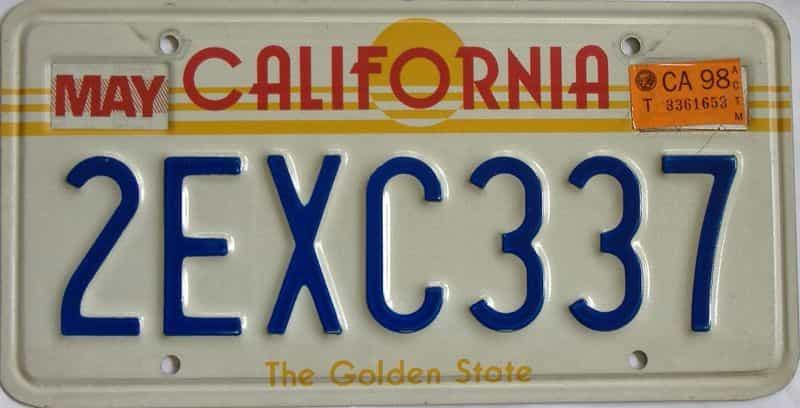 1998 California (Single) license plate for sale