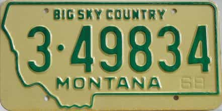1968 Montana (Single) license plate for sale