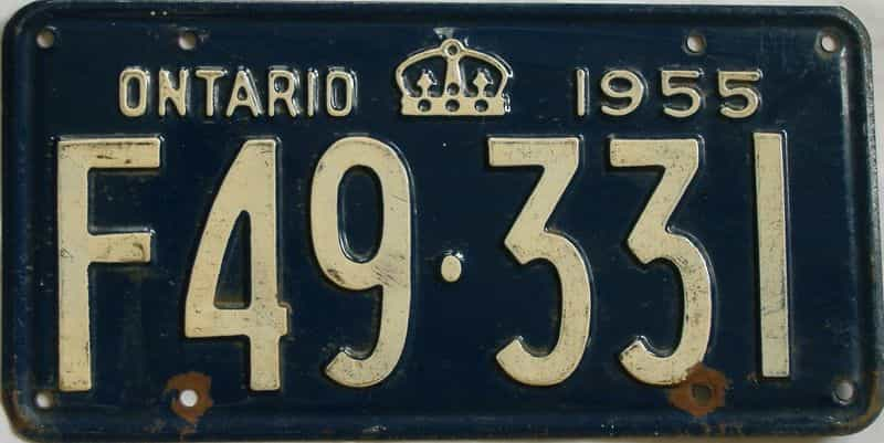1955 Ontario (Single) license plate for sale