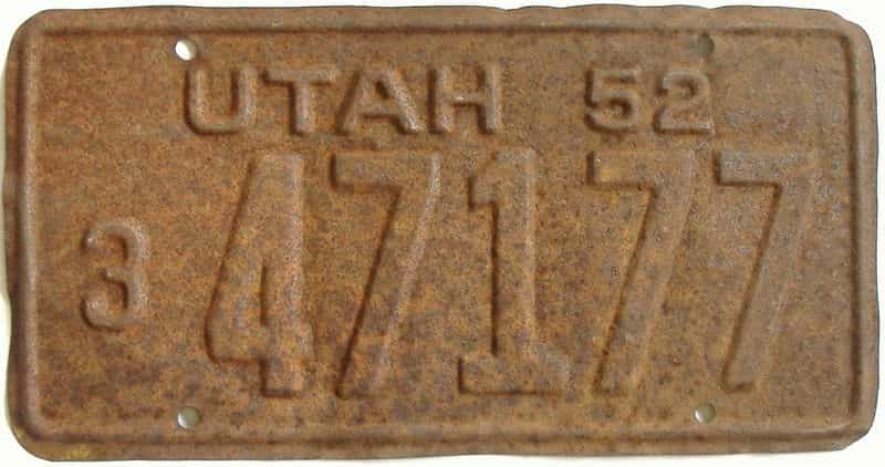 1952 UT (As-Found) license plate for sale