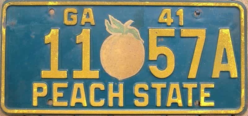 YOM 1941 GA (Single) license plate for sale
