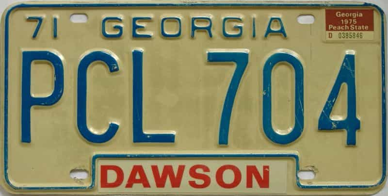 1975 Georgia (Natural) license plate for sale