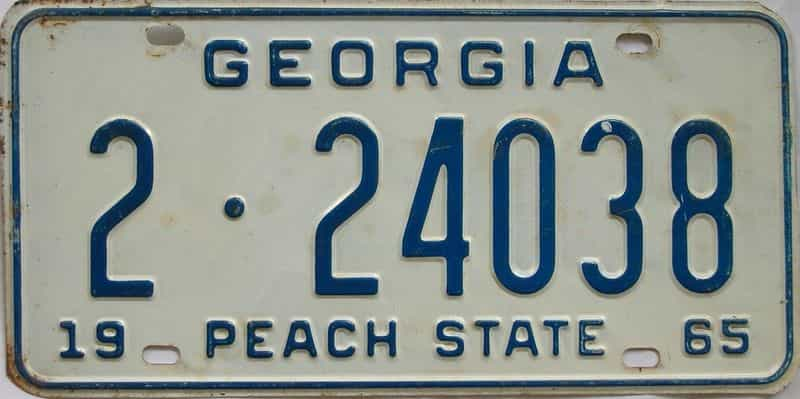 YOM 1965 GA license plate for sale
